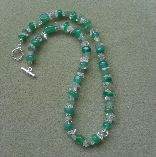 Green Agate, Aventurine and White Quartz Necklace