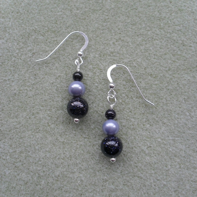 Blue Goldstone and Shell Pearl Earrings Sterling Silver