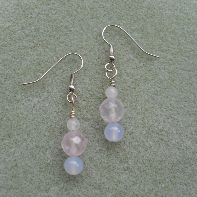 Rose Quartz and Chalcedony Earrings