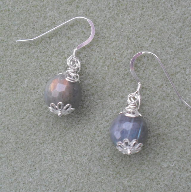 Sterling Silver Labradorite Wire Wrapped Earrings
