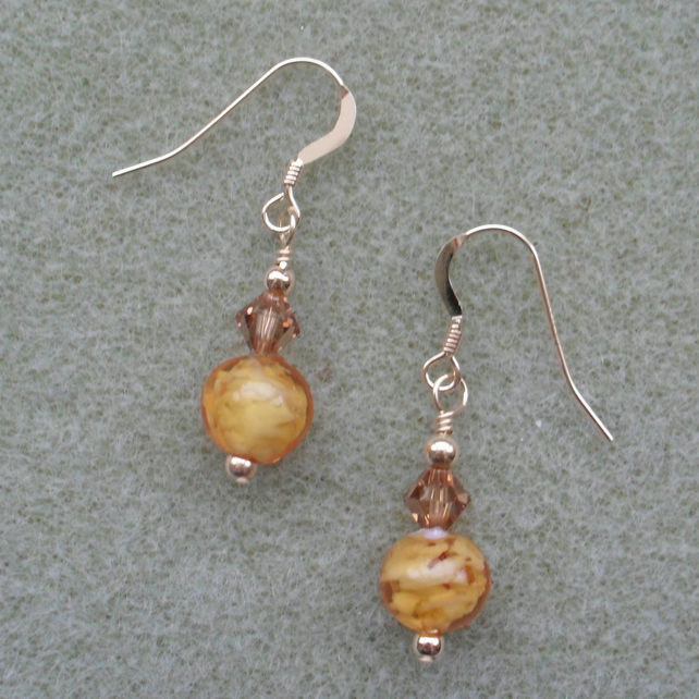 Murano Glass Gold Filled Earrings