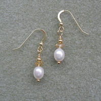 White Freshwater Pearls and Citrine Gold Vermeil Earrings