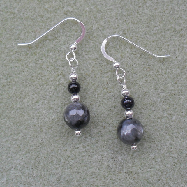 Sterling Silver Larvikite and Blue Goldstone Earrings