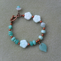 Teal Czech Glass bead Bracelet