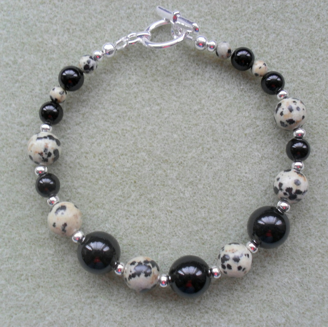 Black Onyx and Dalmatian Jasper Silver Plated Bracelet