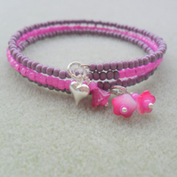 Mauve and Pink Memory Wire Bracelet