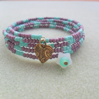 Turquoise and Mauve Memory Wire Bracelet