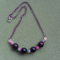 Purple and Pink Semi Precious Gemstone Bar Necklace