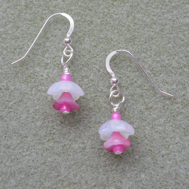 Flower earrings with sterling Silver Ear Wires