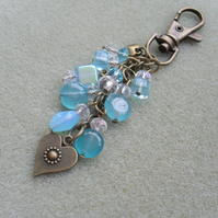 Blue Quartz and Czech Glass Bag Charm