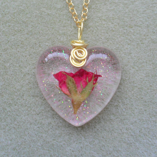 Real Red Rose Set in Resin Pendant