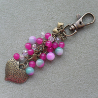Bronze Heart and semi Precious Gemstone Bag Charm