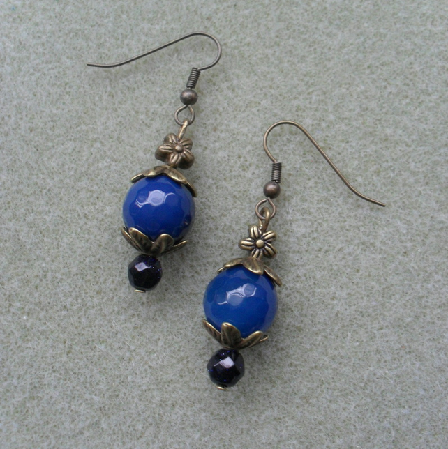 Blue Agate and Goldstone Bronze Earrings