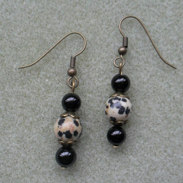 Black Onyx and Dalmatian Jasper Earrings