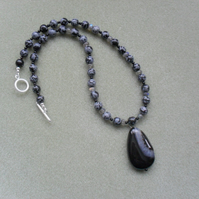 Snowflake Obsidian and Labradorite Necklace Sterling Silver