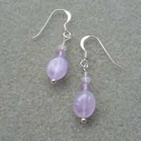 Sterling Silver Lavender Amethyst and Quartz Earrings