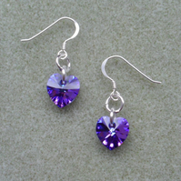 Purple Crystal Heart Earrings With Crystal Hearts From Swarovski