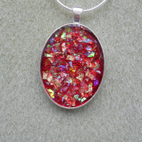 Glitter Red Resin Pendant RE018