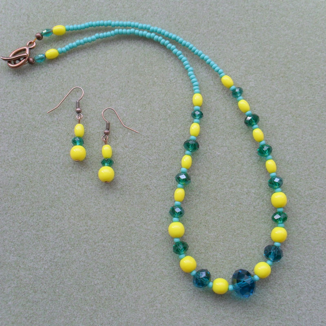 Clearance Teal and Yellow Czech Glass Beads and Crystal Necklace and Earring Set