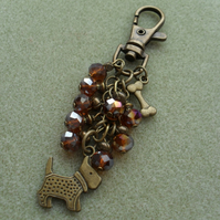 Bronze Dog with Bone Bag Charm