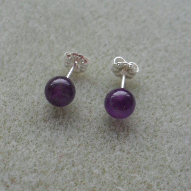 Amethyst Stud Sterling Silver Earrings