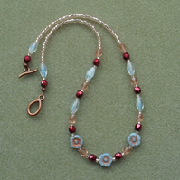 Czech Glass Flower Necklace