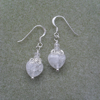 Quartz Heart Wire Wrapped Earrings Sterling Silver