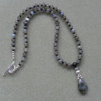 Sterling Silver Labradorite and Black Spinel Necklace