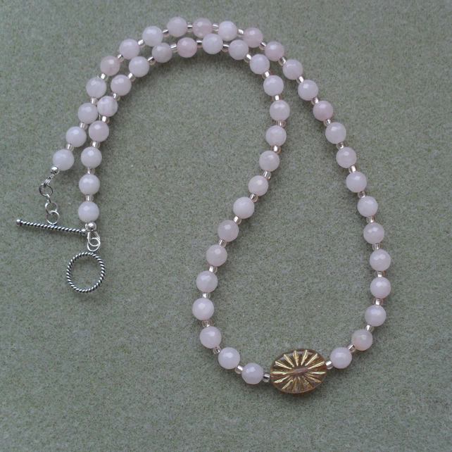 Rose Quartz Czech Glass silver Necklace