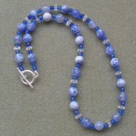 Blue Agate and Quartz Sterling Silver Necklace
