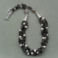 Smokey Quartz Bib Style Necklace
