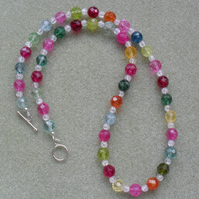 Multi coloured Quartz Necklace Colourful Necklace