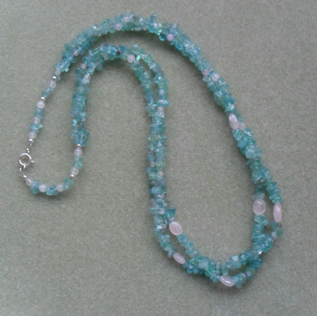Apatite and Rose Quartz Necklace