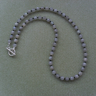 Labradorite and Black Onyx Sterling Silver Necklace