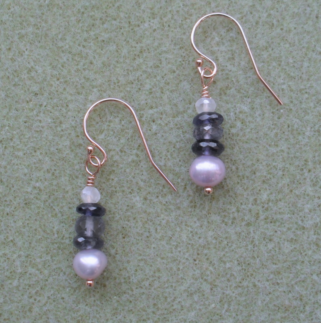 Iolite and Freshwater Pearl Rose Gold Filled Earrings