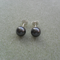Sterling Silver Crystal Black Pearl Stud Earring With Pearls From Swarovski