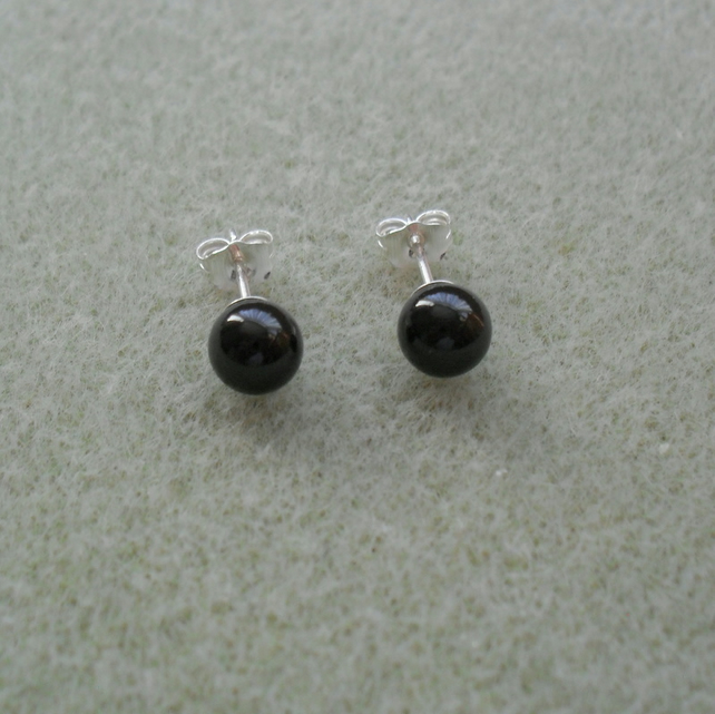 Black Pearl Sterling Silver Earrings With Pearls From Swarovski