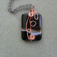 Agate Copper Tone Wire Wrapped Pendant