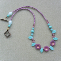 Purple and Turquoise Czech Glass Beaded Necklace