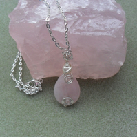 Rose Quartz and Swarovski Pearl Pendant