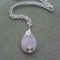 Dainty Rose Quartz Drop Pendant