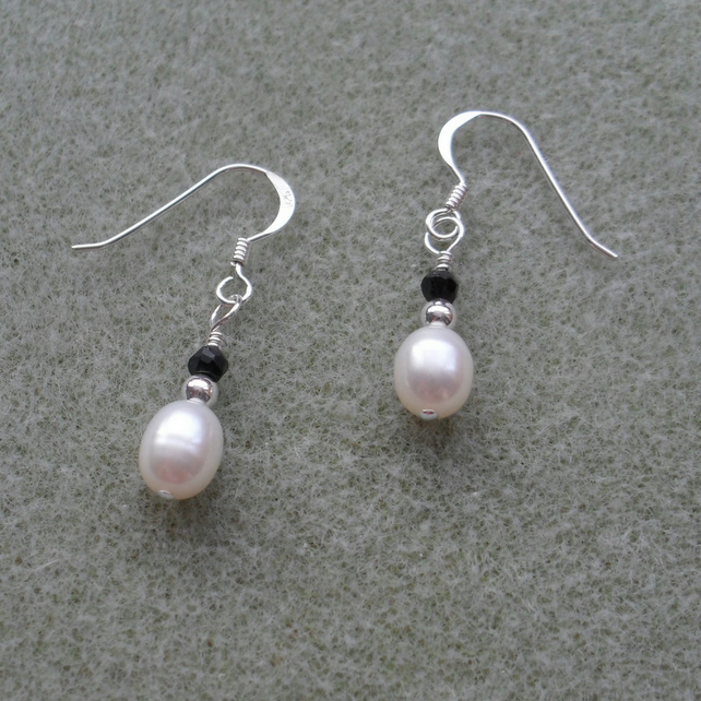 Freshwater Pearl and Black Spinel Sterling Silver Earrings