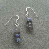 Labradorite Dainty Drop Earrings Sterling Silver