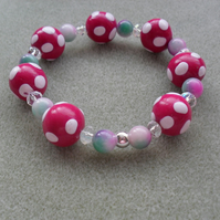 Polymer Clay, Crystal and Quartz Bracelet