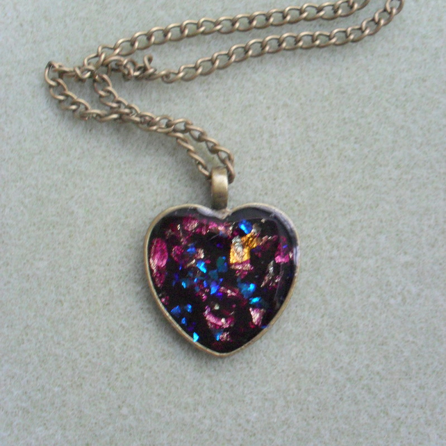Sale Bronze Heart With Violet Resin