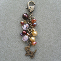 Clearance Dog Bagcharm with Glass Beads