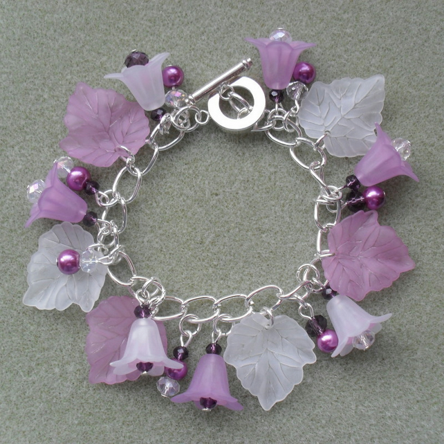 Lilac Glass and Acrylic Charm Bracelet