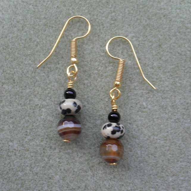 Agate and Dalmatian Jasper Gold Earrings