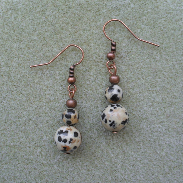 Antique Copper Dalmatian Jasper Earrings