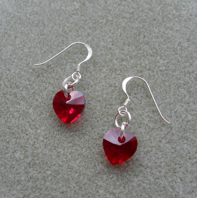 Red Crystal Heart Earrings With crystal Hearts From Swarovski